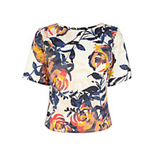 Buy Warehouse Floral Brushstroke Top, Cream Online at johnlewis.com