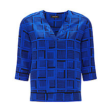 Buy Jaeger Painted Cube Tunic Top, Navy / True Blue Online at johnlewis.com