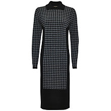 Buy Jaeger Mini Houndstooth Sweater Dress, Black / Charcoal Online at johnlewis.com