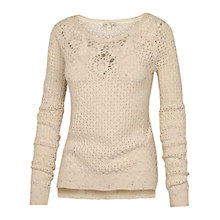 Buy Fat Face Daisy Crochet Jumper, Ivory Online at johnlewis.com