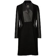 Buy Ted Baker Leather Detail Fitted Coat, Black Online at johnlewis.com
