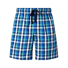 Buy John Lewis Tonal Small Check Lounge Shorts, Blue/Green Online at johnlewis.com