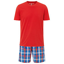 Buy John Lewis Check Shorts and T-Shirt Lounge Set, Red/Blue Online at johnlewis.com