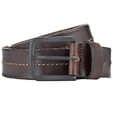 Buy Selected Homme Roger Stitch Leather Belt, Brown Online at johnlewis.com