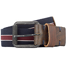 Buy Selected Homme Carl Stripe Canvas Belt, Blue/Red Online at johnlewis.com