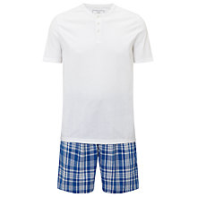 Buy John Lewis Check Shorts and T-Shirt Lounge Set, White/Blue Online at johnlewis.com