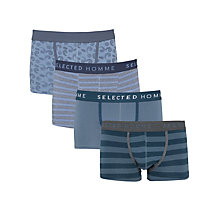 Buy Selected Homme Design Trunks, Pack of 4, Blue Online at johnlewis.com