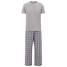 Buy John Lewis Check Trousers and T-Shirt Lounge Set, Grey Online at johnlewis.com