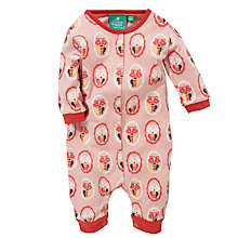 Buy Little Green Radicals Autumn Cat Print Romper, Pink Online at johnlewis.com