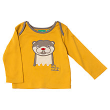 Buy Little Green Radicals Otter Appliqué Long Sleeve T-Shirt, Yellow Online at johnlewis.com