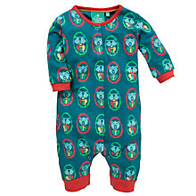 Buy Little Green Radicals Winter Bear Romper, Blue Online at johnlewis.com