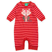 Buy Little Green Radicals Cat & Stripe Romper, Red/Pink Online at johnlewis.com