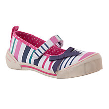 Buy John Lewis Girls' Mary Jane Stripe Canvas Shoes, Pink/Multi Online at johnlewis.com