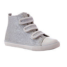 Buy John Lewis Girl Lulu Sparkle Canvas Hi-Top Trainers, Silver/Metallic Online at johnlewis.com