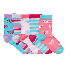 Buy John Lewis Girl Spotty Animal Socks, Pack of 5, Multi Online at johnlewis.com