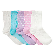 Buy John Lewis Girl Heart Textured Socks, Pack of 5, Pastel Online at johnlewis.com