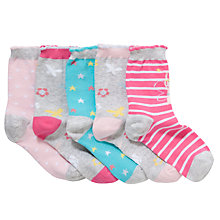 Buy John Lewis Girl Fairy Ankle Socks, Pack of 5, Grey/Pink Online at johnlewis.com