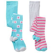 Buy John Lewis Girl Floral & Stripe Tights, Pack of 2, Multi Online at johnlewis.com
