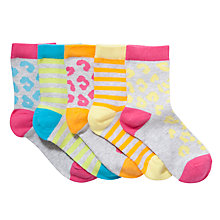 Buy John Lewis Girl Neon Animal Print Ankle Socks, Pack of 5, Grey/Neon Online at johnlewis.com