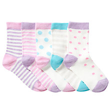 Buy John Lewis Girl Marl Spot & Stripe Ankle Socks, Pack of 5, Pastel Mix Online at johnlewis.com
