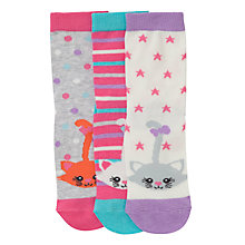 Buy John Lewis Girl Cats Socks, Pack of 3, Multi Online at johnlewis.com