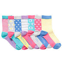 Buy John Lewis Girl 7 Days of the Week Socks, Pack of 7, Multi Online at johnlewis.com
