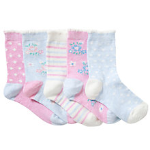 Buy John Lewis Girl Vintage Floral Ankle Socks, Pack of 5, Pastel Online at johnlewis.com
