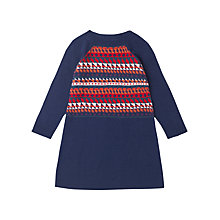 Buy Jigsaw Junior Girls' Pattern Front Knit Dress, Blue/Multi Online at johnlewis.com