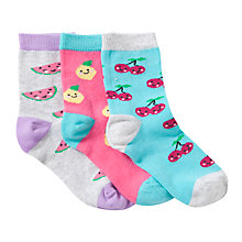 Buy John Lewis Girl Fruity Socks, Pack of 3, Multi Online at johnlewis.com