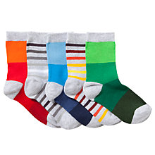 Buy John Lewis Boy Graduated Stripes Ankle Socks, Pack of 5, Grey/Multi Online at johnlewis.com