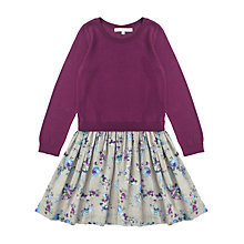 Buy Jigsaw Junior Girls' Floral Print Jumper Top Dress, Purple Online at johnlewis.com