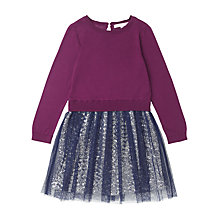 Buy Jigsaw Junior Sequin Skirt Jumper Dress, Navy/Plum Online at johnlewis.com
