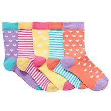 Buy John Lewis Girl Hearts & Stars Ankle Socks, Pack of 5 Multi Online at johnlewis.com