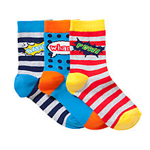 Buy John Lewis Boy Superhero Socks, Pack of 3, Multi Online at johnlewis.com