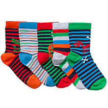 Buy John Lewis Boy Dinosaur Socks, Pack of 5, Multi Online at johnlewis.com