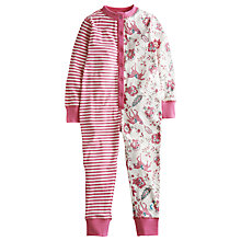 Buy Little Joule Girls' Janie Florla & Stripe Onesie, Pink Online at johnlewis.com