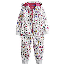 Buy Little Joule Girls' Luna Horse Print Hooded Onesie, Cream Online at johnlewis.com