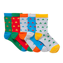 Buy John Lewis Boy Bright Stars Socks, Pack of 5, Multi Online at johnlewis.com