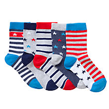 Buy John Lewis Boy Natuical Ankle Socks, Pack of 5, Multi Online at johnlewis.com