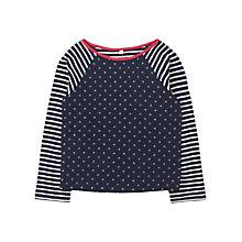 Buy Jigsaw Junior Girls' Spot & Stripes T-Shirt, Navy Online at johnlewis.com