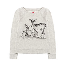 Buy Jigsaw Junior Girls' Deer Print Jumper, Grey Online at johnlewis.com