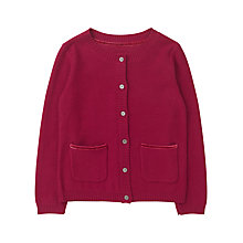 Buy Jigsaw Junior Girls' Velvet Trim Cardigan, Red Online at johnlewis.com
