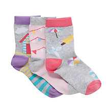 Buy John Lewis Girl Holiday Socks, Pack of 3, Grey/Multi Online at johnlewis.com