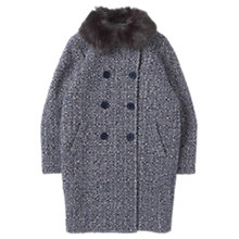 Buy Jigsaw Junior Girls' Faux Fur Trim Tweed Coat, Blue Online at johnlewis.com