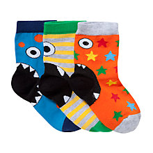 Buy John Lewis Boy Monster Heel Socks, Pack of 3, Multi Online at johnlewis.com