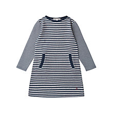 Buy Jigsaw Junior Girls' Stripe Jersey Dress, Navy Online at johnlewis.com