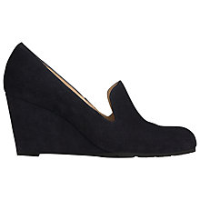 Buy L.K. Bennett Bertha Suede Wedge Court Shoes, Navy Online at johnlewis.com
