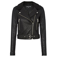 Buy Warehouse Faux Leather Bubble Borg Collar Biker Jacket, Black Online at johnlewis.com
