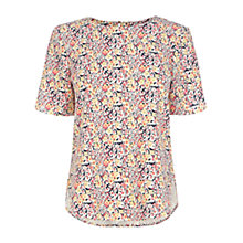 Buy Warehouse Floral Textured Crepe Top, Cream Online at johnlewis.com