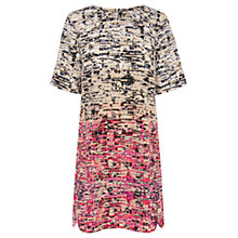 Buy Warehouse Patterned Border Textured Print Dress, Pink Online at johnlewis.com